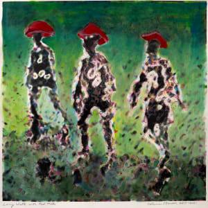 Long Walk With Mushroom Cap Hats by Alan Powell