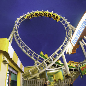 Roller Coaster at Night by Alan Powell