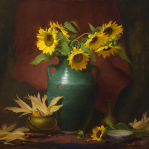 Sunflowers and corn robbins 24x24 5000 bqfpil