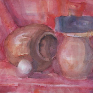 Watercolor Still Life in red with a white ball