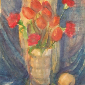 Watercolor Still Life / Tullips and Carnations