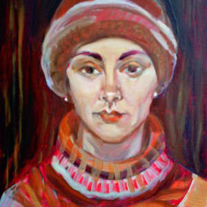 Selfportrait with a hat by Gallina Todorova