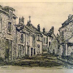 2589 - Road in Moret - Sur - Loing by Llewellyn Petley-Jones (1908-1986)