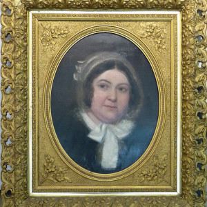 0696 - Woman in Oval Frame (British) by Artist Unknown