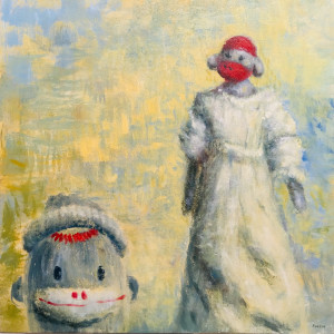 0444 - Monkey with Monkey in a White Dress by Thomas Anfield