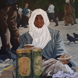 c) Pigeon Lady of Istanbul by Kathleen Katon Tonnesen