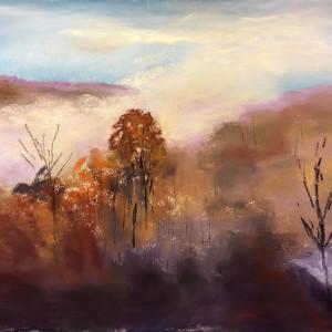 Smokey mountain morning 1 12x9 pastel on sanded paper qwpo0e
