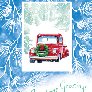 Vintage Red Truck Christmas Card by Jessica Glenn