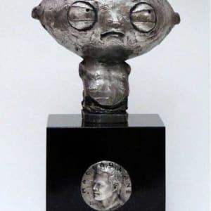 Stewie Griffin with Seth MacFarlane portrait medallion by Richard Becker
