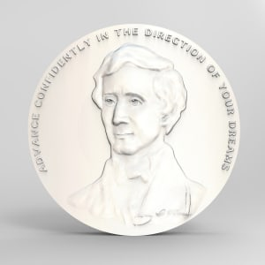 "Young Thoreau ""advance"" medallion wip by Richard Becker"
