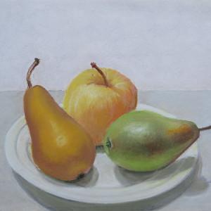 Trois fruits sur une assiette by LECOULTRE John-Francis (1905-1990)