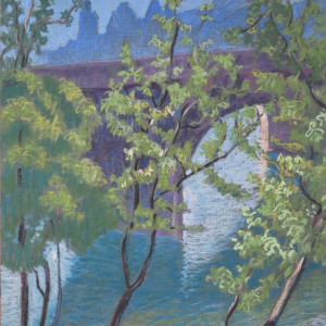 Paris, bord de Seine au printemps by LECOULTRE John-Francis (1905-1990)