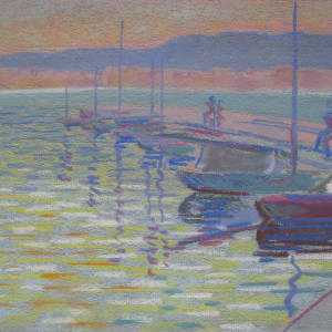 Reflets dans le port , quai de Cologny by LECOULTRE, John-Francis (1905-1990)
