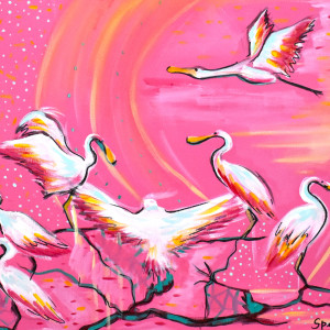 Spoonbills by Emily Spikes