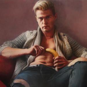 Tanya atanasova the banana boy oil on canvas 55 x 39 inches 2018 uwxhsd