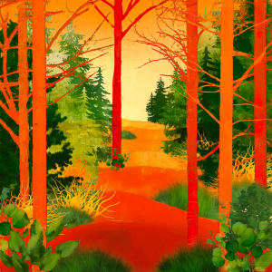 "10th Place – Overall - Barbara Mierau-Klein - ""Red and Green Trees"" – www.barbaramierauklein.com"