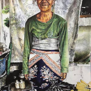 "7th Place - Deborah Tomasowa – ""Old Fruit Vendor Lady in Yogyakarta"" – www.dtomasowa.wixsite.com/debs-artbox"