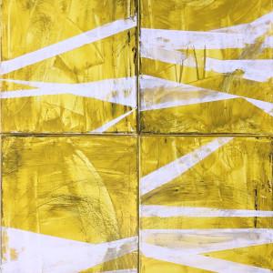 Geometric White on Yellow