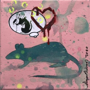 Rat Dreams of Banksy Green on Pink