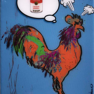 Rooster Dreams of Andy Warhol Blue