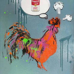 Rooster Dreams of Warhol (Orange on Dusty Blue) by Tina Psoinos