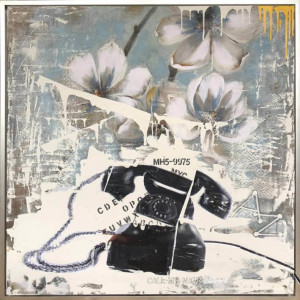 Telephone on Flowers Blue