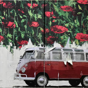 VW Van Red on Poppies A1