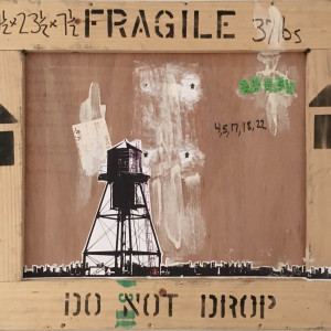 Water Tower on Crate Small