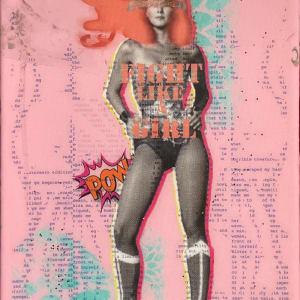 Wonder Woman 12x8 by Tina Psoinos  Image: Wonder Woman Coral on Pink_SOLD