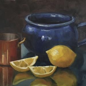 Blue soup mug copper cup and lemons xaktvt