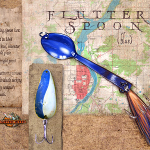 Flutter Spoon (Blue) (Unframed print with real lure) by Rick  Nass