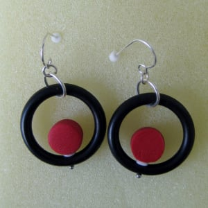 Red/Black Earrings by Charmaine Harbort