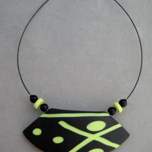 Black/Lime Green Necklace by Charmaine Harbort