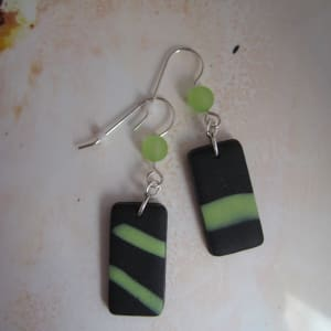 Black/Lime Green Earrings by Charmaine Harbort