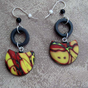 Yellow/Red/Neon Earrings by Charmaine Harbort