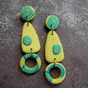 Yellow/Aqua Earrings by Charmaine Harbort