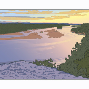 Ferry Bluff Down River (Framed) by John Miller