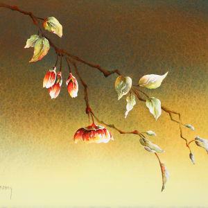 Plum Blossoms III (Framed Original) by Linda Koenig