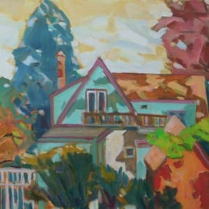 A-Frame and Shed (Framed original) by Chuck Bauer