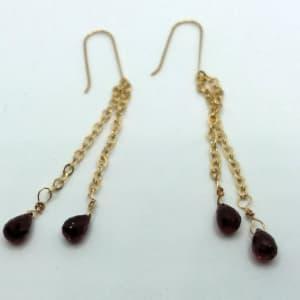 Red Dangle Earrings by Judi Werner