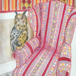 Owl on armchair