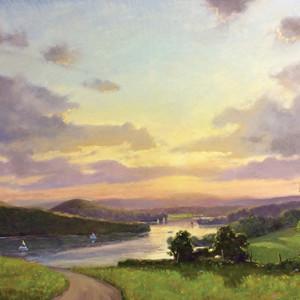 Sunset sail lake waramaug 24 x 36 rgb xo3nhy