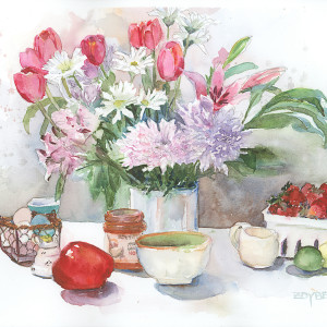 Still Life with Tulips and Strawberries by Rebecca Zdybel