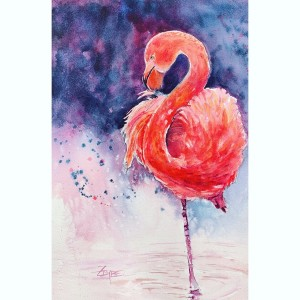 Flamingo in Pink and Purple by Rebecca Zdybel
