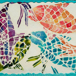 Fish Batik Multicolored on teal mat by Rebecca Zdybel
