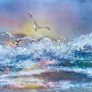 Wings and Waves Coming Ashore by Rebecca Zdybel