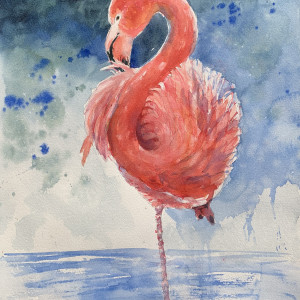 Flamingo in Pink and Blue by Rebecca Zdybel