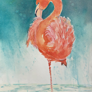 Flamingo in Orange and Aqua by Rebecca Zdybel
