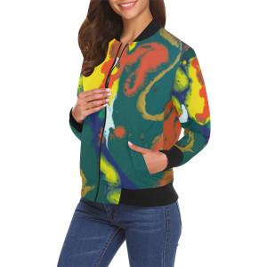 Bomber jacket orgtealblwhtallover oki0gh