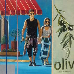 Ramo de oliveira 90x90 acr%c3%adlico e oleo sobre tela xpyumm